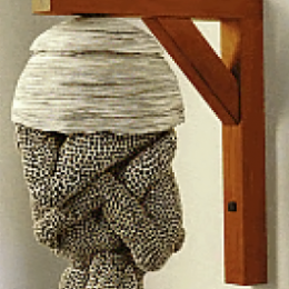 Adrian Arleo, American Wasp Nest-Couple, 2003. Ceramic, stains, wood. 17 x 9 x 8 in. Diane and Sandy Besser Collection. 2008.005.002. Prop Storage, Room 44, Box 86, 1 (29 Jul 2009)
