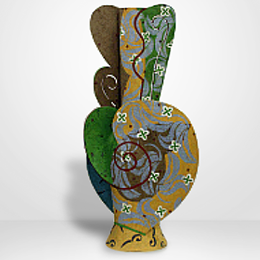 Andrea Gill, American, b. 1948. Persian Ornament, 1996. Ceramic 47 x 21 1/2 in. Gift of Sara and David Lieberman. 2007.153.001. Brickyard Gallery (18 Mar 2015)