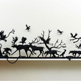 "Carol Eckert, ""And a Wolf Shall Devour the Sun,"" 2012. Black waxed linen thread, wire. 14 x 65 x 3 in. Anonymous gift"
