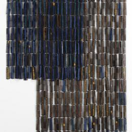 Sonya Clark, American, b. 1967, Thread Wrapped Blue, 2008. Combs and thread. 45 x 1 x 60 in. Purchased with funds provided by the Windgate Charitable Foundation, 2012.046.001