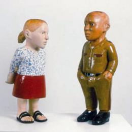 """Conversation,"" 2001. Enamel on Jacaranda and Karee wood. 29 x 30 x 10 inches. Courtesy of Jack Shainman Gallery, NY"