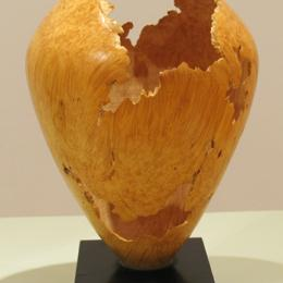 "David Ellsworth, ""Tall Inverted-Ovoid Vase,"" 1981, box elder burl, 12 3/16 x 8 9/16 in. Collection of the ASU Art Museum, gift of Edward Jacobson 1990.009.001."