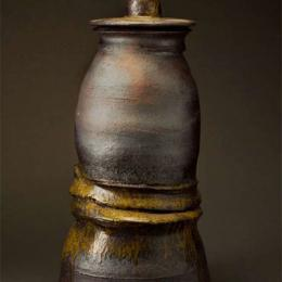 "Kenneth Ferguson, 1928-2004, American, ""Brown Lidded Jar,"" 1985. 28 1/4 x 13 3/4 inch diameter."