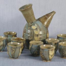 Frances Senska, American, 1914 - 2009. Wine Set (#8-91), c. 1988. Earthenware. 8 3/8 x 4 3/8 x 6 7/8 in. American Ceramics Fund. 1988.085.000. Prop Storage Room 44, Tier F, Shelf 03 (7 Jul 2014)