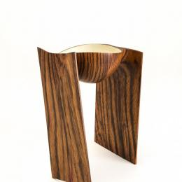 Stephen Hogbin, Canadian, b. 1942, Walking Bowl, 1983. Zebrawood. 10 7/8 x 6 7/8 x 8 1/4 in. Gift of Edward Jacobson 1990.020.000