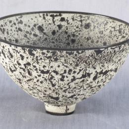 James Lovera, American, b. 1920. Black and White Textured Bowl. Earthenware. 5 x 8 7/16 in. Presented in honor of Rudy Turk by his Arizona colleagues. 1992.116.000. Open Storage Room (Ceramics Center), CC Tiers 28, Shelf 01 (1 Mar 2014)