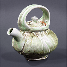 Josh DeWeese, American. green teapot, 2001. 7 1/4 x 7 x 5 1/2 in. Gift of Sara and David Lieberman. 2007.094.001. Prop Storage Room 44, Tier B, Shelf 01 (5 Mar 2015)
