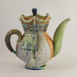 Julia Galloway, American Untitled Teapot, 2004. Glazed porcelain, soda-fired. 9 x 9 x 6 3/4 in. Gift of Gerald and Daphna Cramer. 2010.012.011. Open Storage Room (Ceramics Center), CC Tiers 41, Shelf 04 (1 Mar 2014)