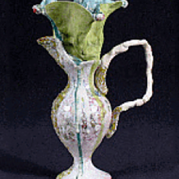 Kathy Butterly, American, b. 1963. Untitled (Pitcher), 1991. Stoneware and porcelain. 9 x 5 3/4 x 5 3/8 in. Purchased with funds provided by the American Art Heritage Fund. 1992.148.000. Open Storage Room (Ceramics Center), CC Tiers 4, Shelf 03 (1 Mar 2014)
