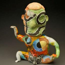 "Michael Lucero, b. 1953, American, ""Anthromorphic Teapot (New World Series) Form with Blond Hair,"" 1991. 16 1/2 x 14 x 6 1/2 in."
