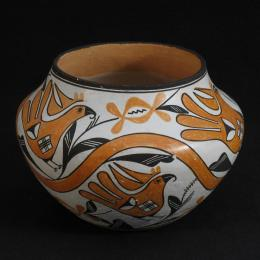 Lucy M. Lewis, Native American, 1895 - 1992. Vessel, 1972. Earthenware. 6 x 8 1/4 in. Gift of Anne and Sam Davis. 1998.226.000. Classroom 121, CC Tiers 53, Shelf, 01 (1 Mar 2014)