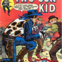 "Mark Newport, American, b. 1964, ""Two Gun Kid,"" 2006. Embroidered comic book cover. 11 x 7 in. Purchased with funds provided by the Windgate Charitable Foundation 2012.044.002"