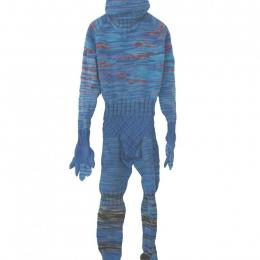"Mark Newport, American, b. 1964, ""W Man,"" 2009. Hand knit acrylic and buttons. 80 x 23 x 6 in. Purchased with funds provided by the Windgate Charitable Foundation 2012.044.001"