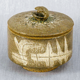 Paul Josef Bogatay, American, 1905 - 1972. Lidded Pot, 1966. Stoneware. 6 x 6 in. Gift of Todd Bogatay. 1991.159.000. Open Storage Room (Ceramics Center), CC Tiers 17, Shelf 04 (1 Mar 2014)