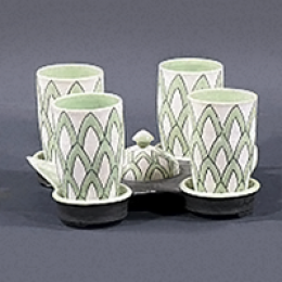 Sam Chung, American, b. 1970. Four cup with tray set, 2000. 4 7/8 x 9 7/8 x 8 3/4 in. Gift of Sara and David Lieberman. 2007.117.001. Prop Storage, Room 44, 1 (22 Jun 2007)