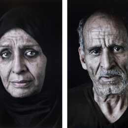 "Shirin Neshat, ""Ghada"" and ""Sayed,"" 2013. Digital pigment prints, 26 x 17.5 in each. Gift of the Robert Rauschenberg Foundation."