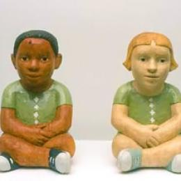 """Twins,"" 2000, Enamel on Jacaranda and Karee wood, 14 x 20 x 9 inches, Courtesy of Jack Shainman Gallery, NY"
