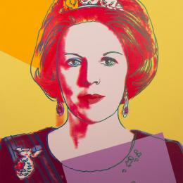 "Andy Warhol, ""Reigning Queens (Queen Beatrix),"" 1985. Screenprint on Lenox Museum Board, 39 3/8 x 31 1/2 inches. PT132H ER.032 