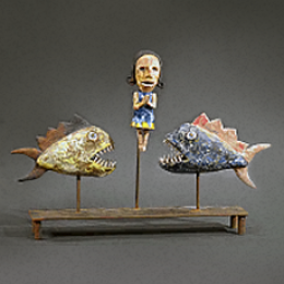 Wesley Anderegg, American, b. 1958. Swimming With Pirahna, 2006. Clay and metal. 14 x 16 x 4 1/2 in. Diane and Sandy Besser Collection. 2007.011.001. 3D Storage Room 48, Metal ShelvesJ, Shelves 05 (7 Mar 2012)