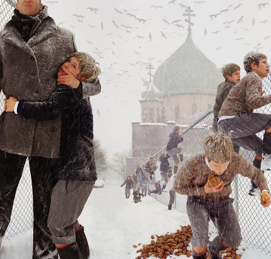 """Anthony Goicolea, """"Blizzard,"""" 2001. Laminated incorporated color coupler print on sintra, AP 1/6, 40 x 42 inches. Collection of Stéphane Janssen."""
