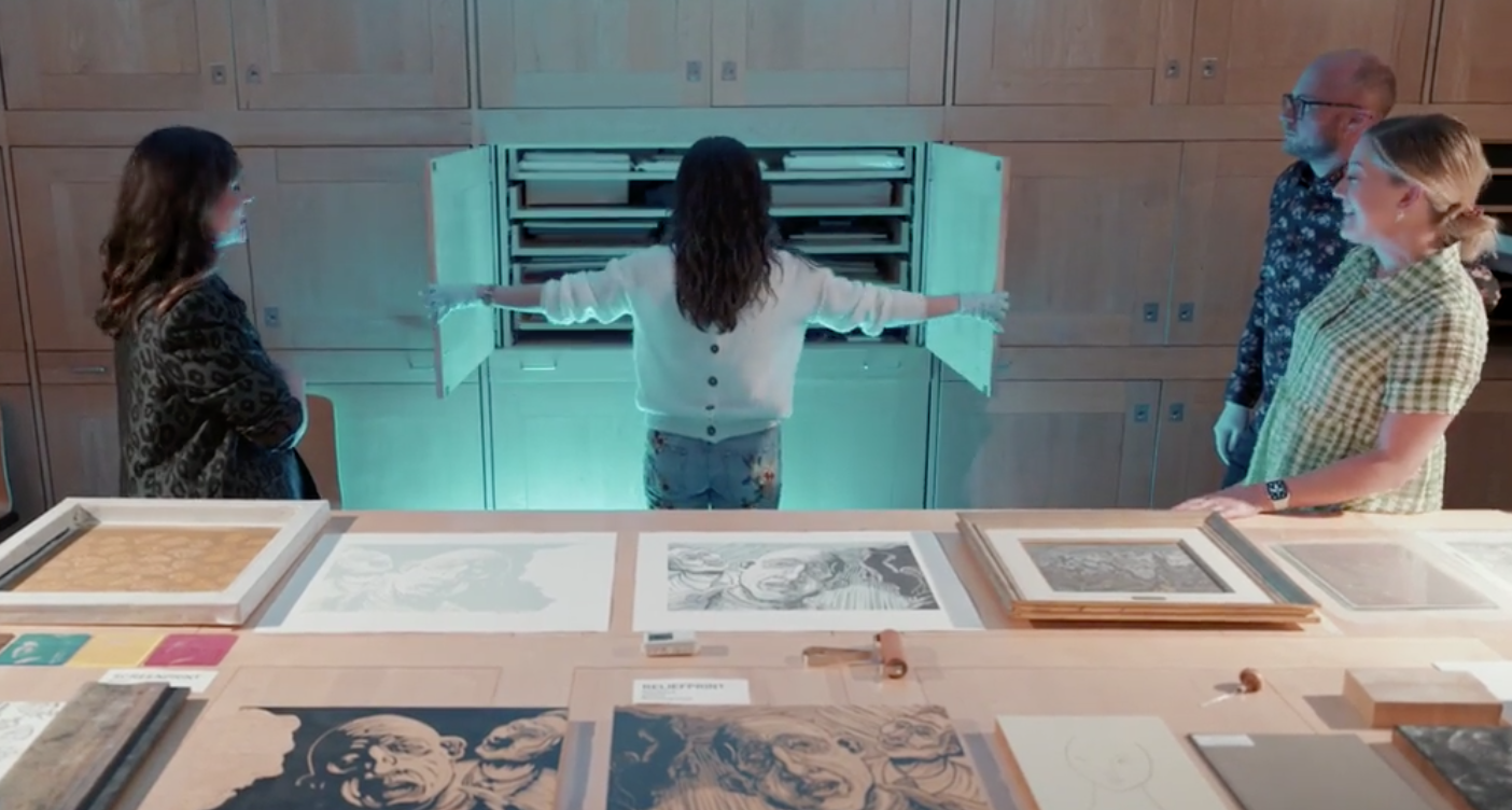 Image credit: Behind the scenes in the Print Study Room. Video still © Alonso Parra.