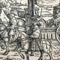 Johannas Schoffer's woodcut piece from 1530 entitled Parade which displaysa busy crowd of men on horses and in carriages walking through the street