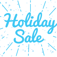 Holiday Sale in blue script with blue dots and lines