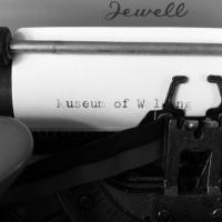 Close up view of typewriter with the words Museum of Walking