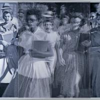 Artist interpretation by Bradley McCallum and Jacqueline Tarry of a famous photo from the Little Rock Nine event in 1957